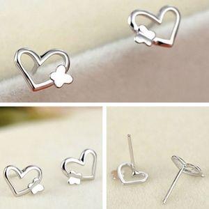 Jewelry - PREVIEW Silver Butterfly Open Heart Stud Earrings